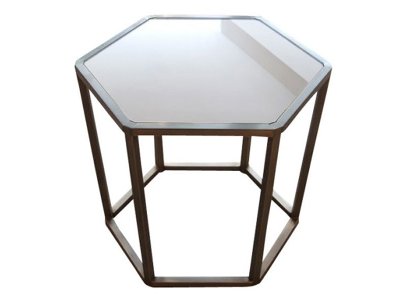 """Schilsan Hexagon Table Antique Brass with Antique Glass 23"""" W x 19"""