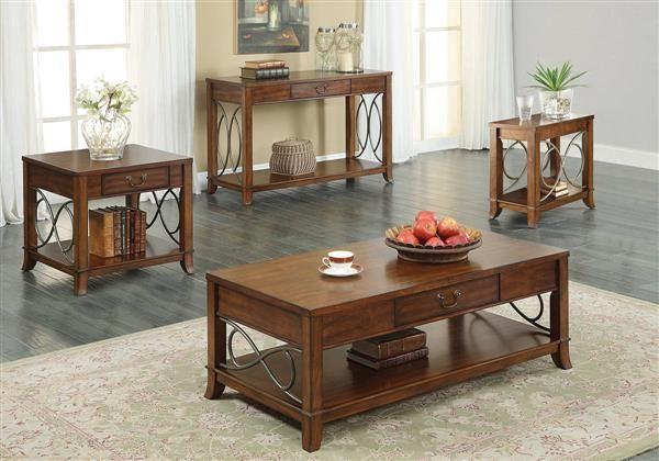 Faris Light Walnut Wood Coffee Table Set Coffee Table Coffee