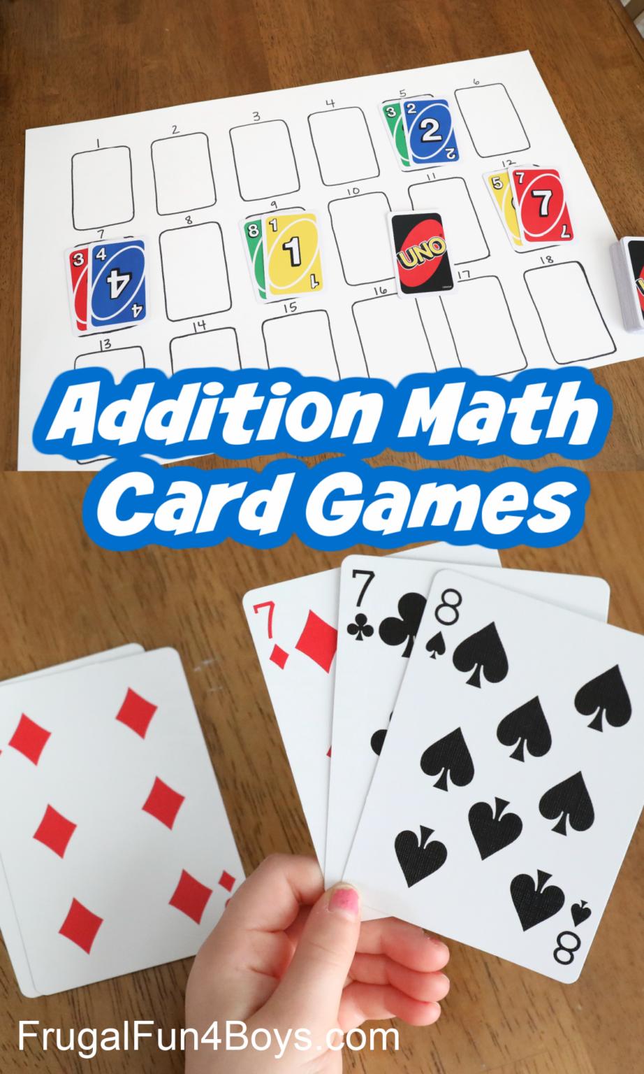 First Grade Math Games Addition Card Games Frugal Fun For Boys And Girls Math Card Games Math Addition Games Easy Math Games
