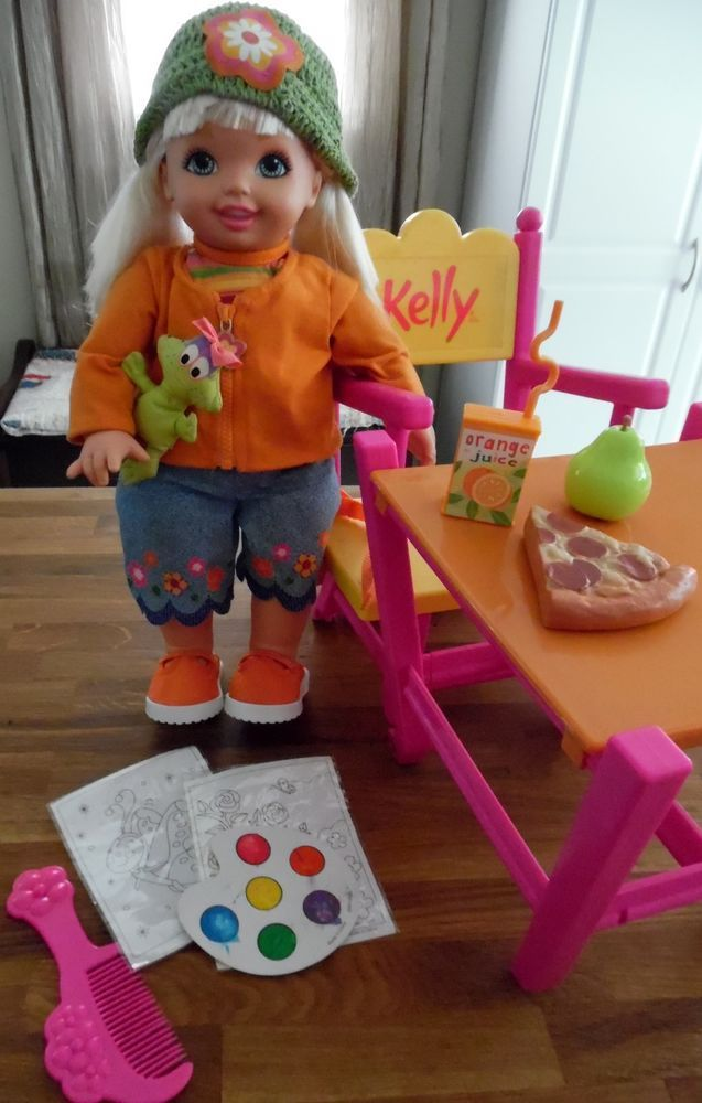 2001 Cuddly Soft Kelly Sister Of Barbie 16 Inch Large Doll Desk Converts To Highchair High Chair Convertible High Chair Art T Barbie Barbie Dolls Dolls