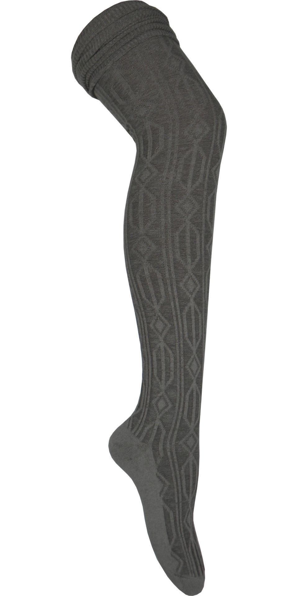 919659cf5 Product Details These warm gray over the knee socks have a cable knitting in  a diamond and hexagon pattern. These socks also have a rouched cuff perfect  for ...