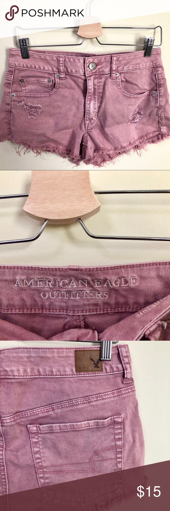 ⚡️Pink American Eagle Denim Cutoff Shorts⚡️ Super cute American Eagle denim shorts with a frayed cutoff design. The shade of pink is very flattering and looks especially great with whites, greys, blacks, and patterns. These shorts are in great condition and give some stretch (they're the stretch style AE shorts). I'm willing to negotiate, so please reach out to me with any offers or inquiries :) American Eagle Outfitters Shorts Jean Shorts #denimcutoffshorts