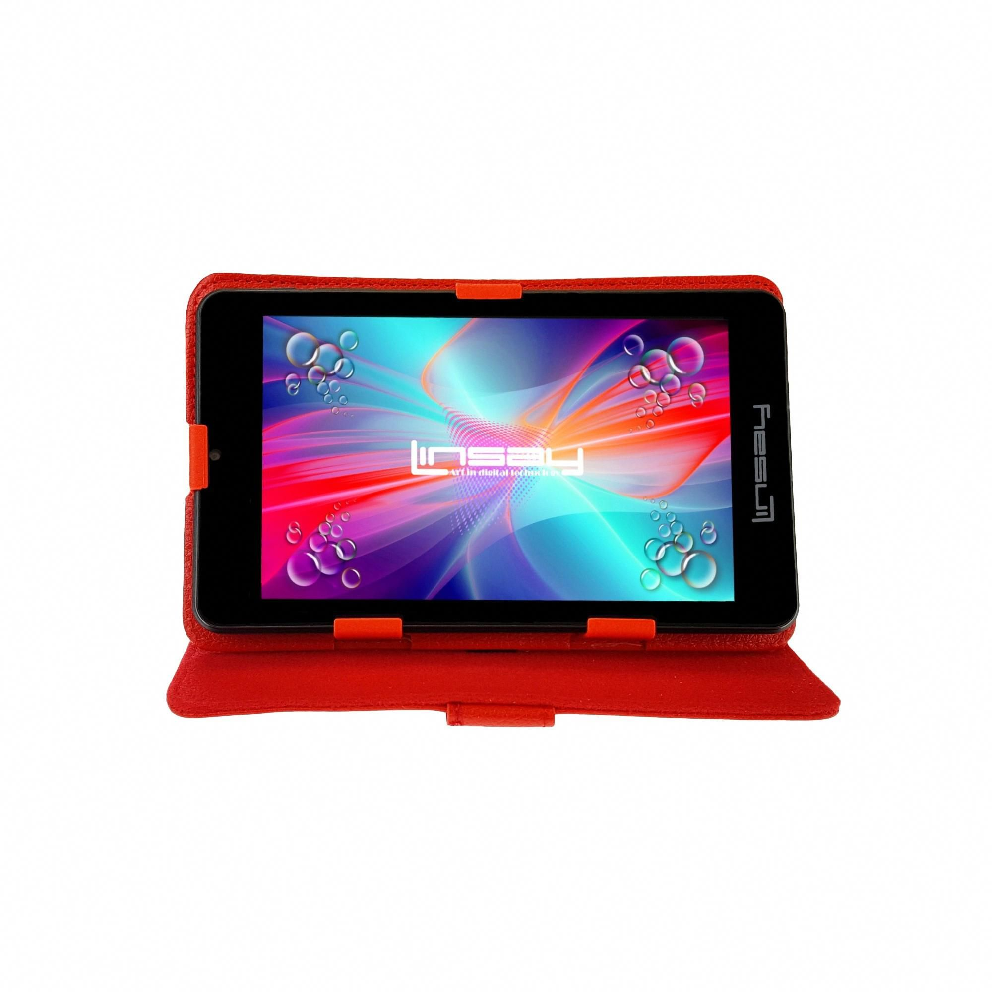 Linsay 7 HD Quad Core Android Tablet Bundle with Leather