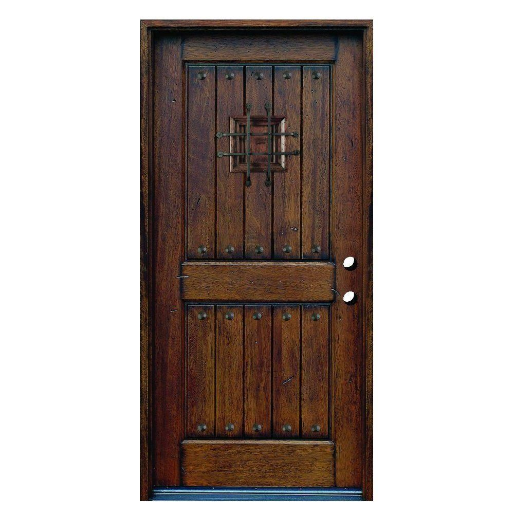 Main Door 36 In X 80 In Rustic Mahogany Type Left Hand Inswing