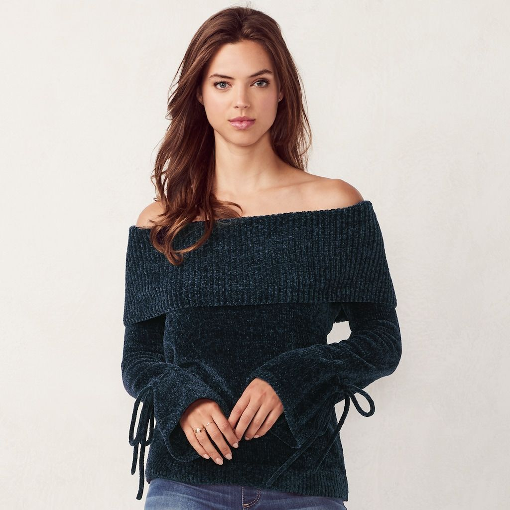 Women's LC Lauren Conrad Ribbed Off-the-Shoulder Chenille Sweater ...