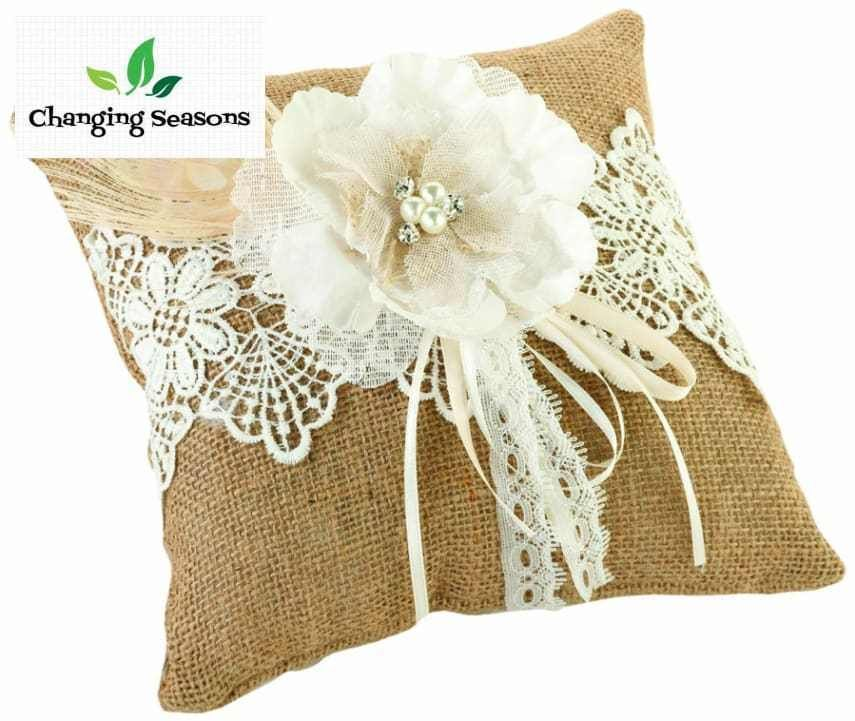 Western Wedding Ring Bearer Pillow Made From Burlap And Lace Rustic Decor 8 x 8 #LillianRose