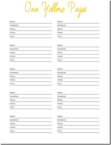 Our Yellow Pages | planners | Contact list, List template