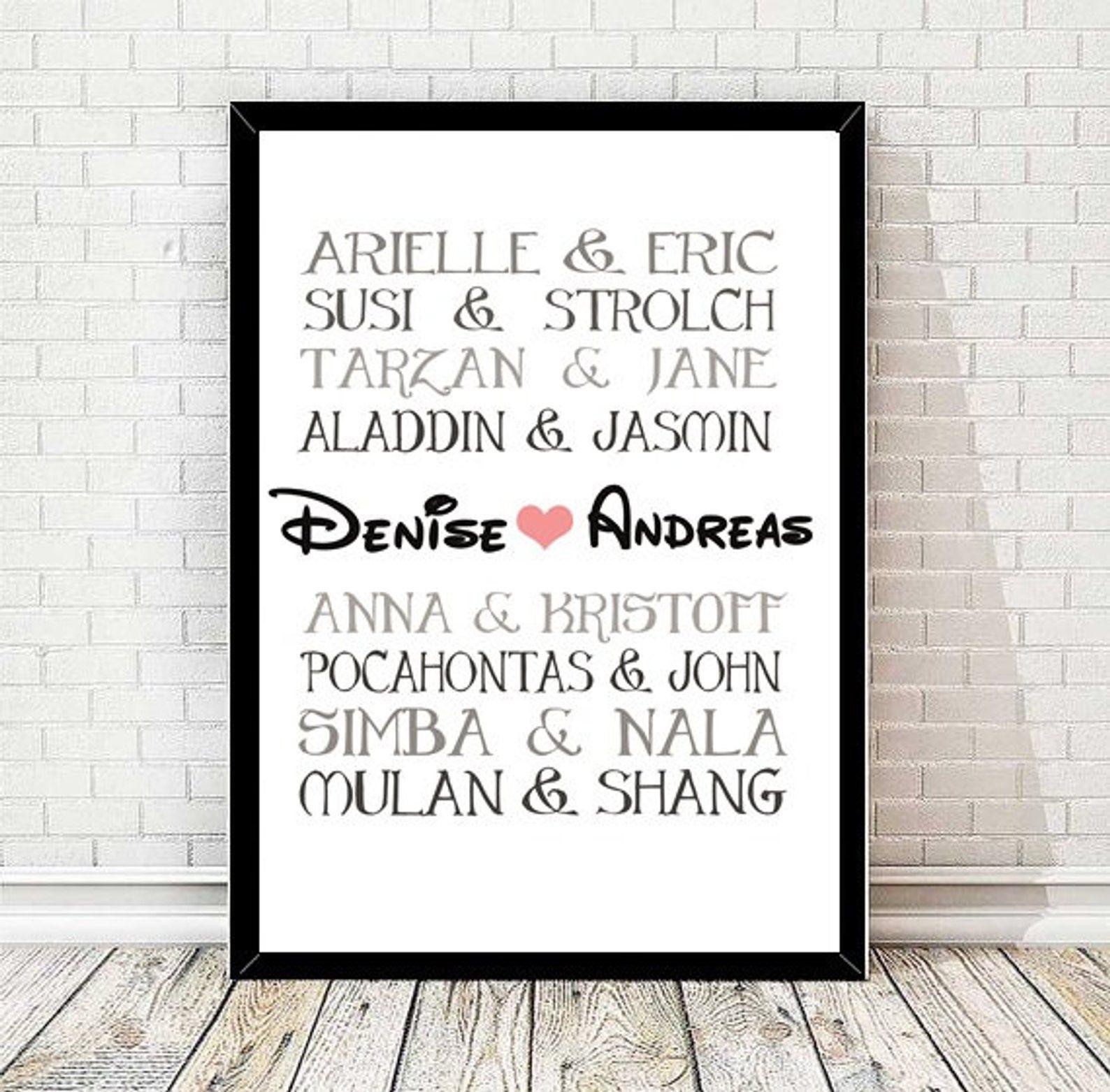 Kunstdruck Hochzeitsgeschenk Mit Disneyfiguren Bild Geschenk Fur Brautpaar Druck Personalisierbar Disney Picture Gifts Wedding Gifts Newlywed Gifts