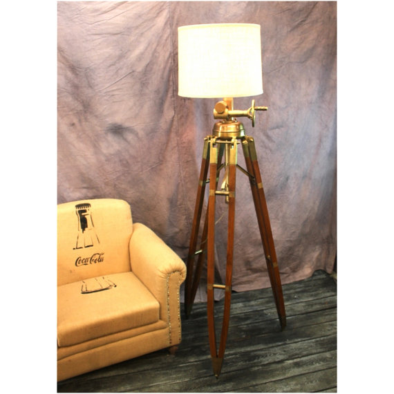 Huge Commercial Quality Antique Brass Amp Wood Tripod Floor