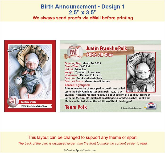 Birth Announcement, Trading Card Sample 1 baby BOY shower - sample trading card