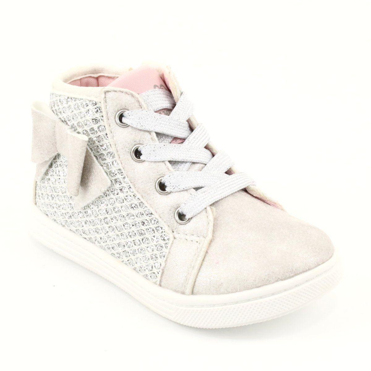 Trzewiki Sportowe Dziewczece American Club Gc17 Biale Szare Wedge Sneaker Shoes High Top Sneakers