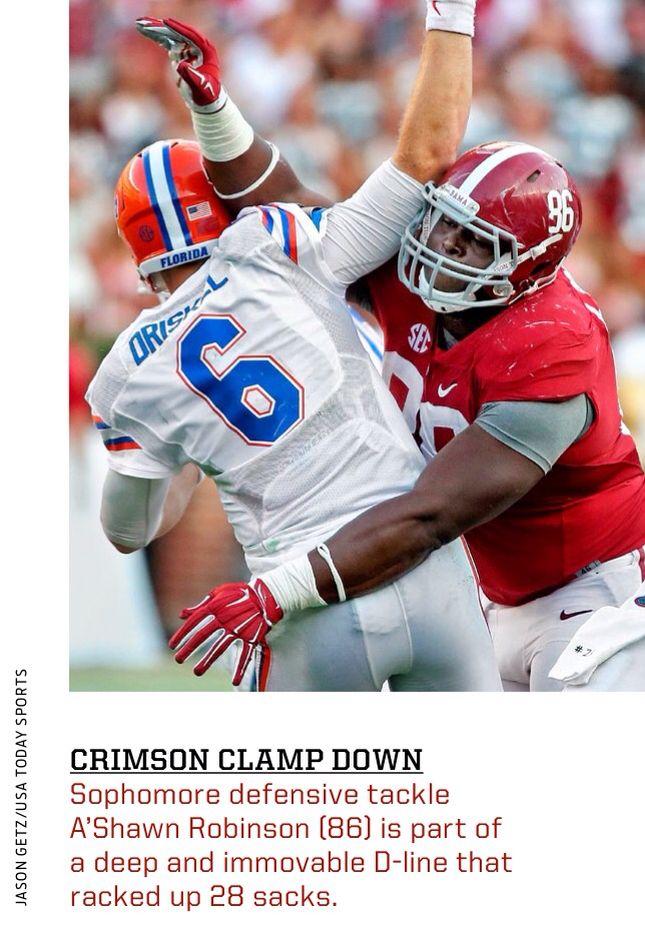 A'Shawn Robinson hits Florida QB Jeff Driskel during a 42 - 21 Alabama win.   Via Sports Illustrated Dec. 29, 2014   #Alabama #RollTide #BuiltByBama