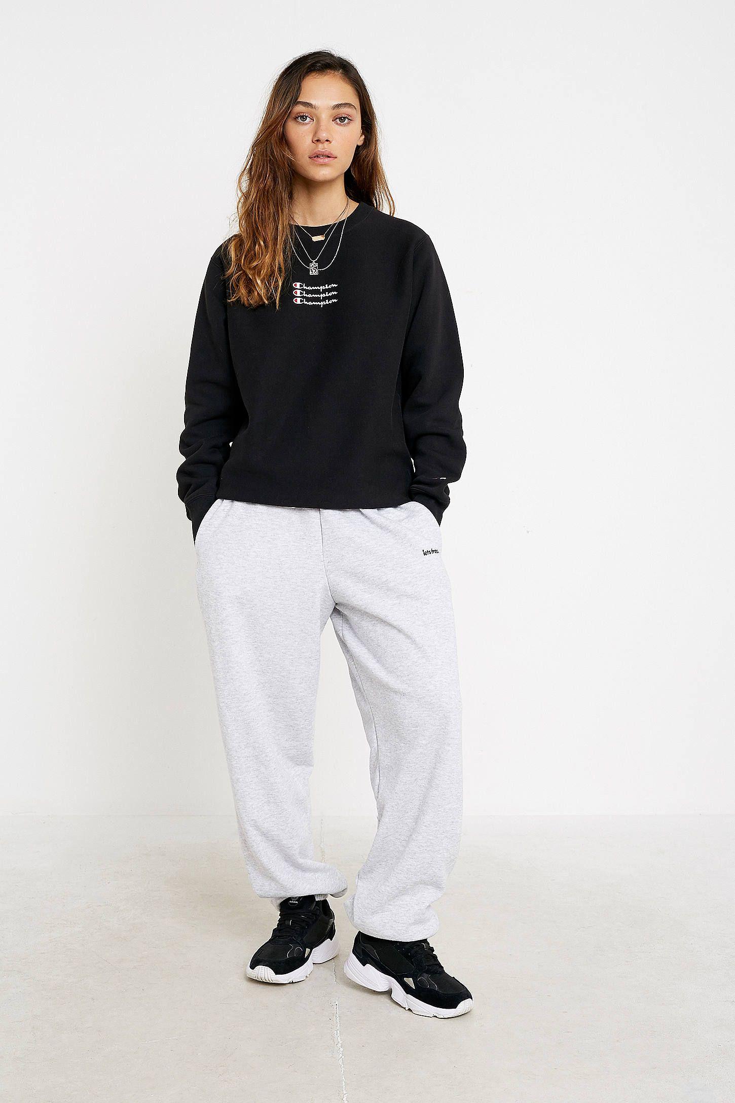 Champion Uo Exclusive Triple Script Logo Black Crew Neck Sweatshirt Urban Outfitters Uk Champion Clothing Clothes Clothes For Women [ 2175 x 1450 Pixel ]
