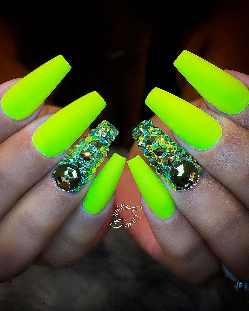 Best Nails For Summer 2019 With Images Neon Yellow Nails