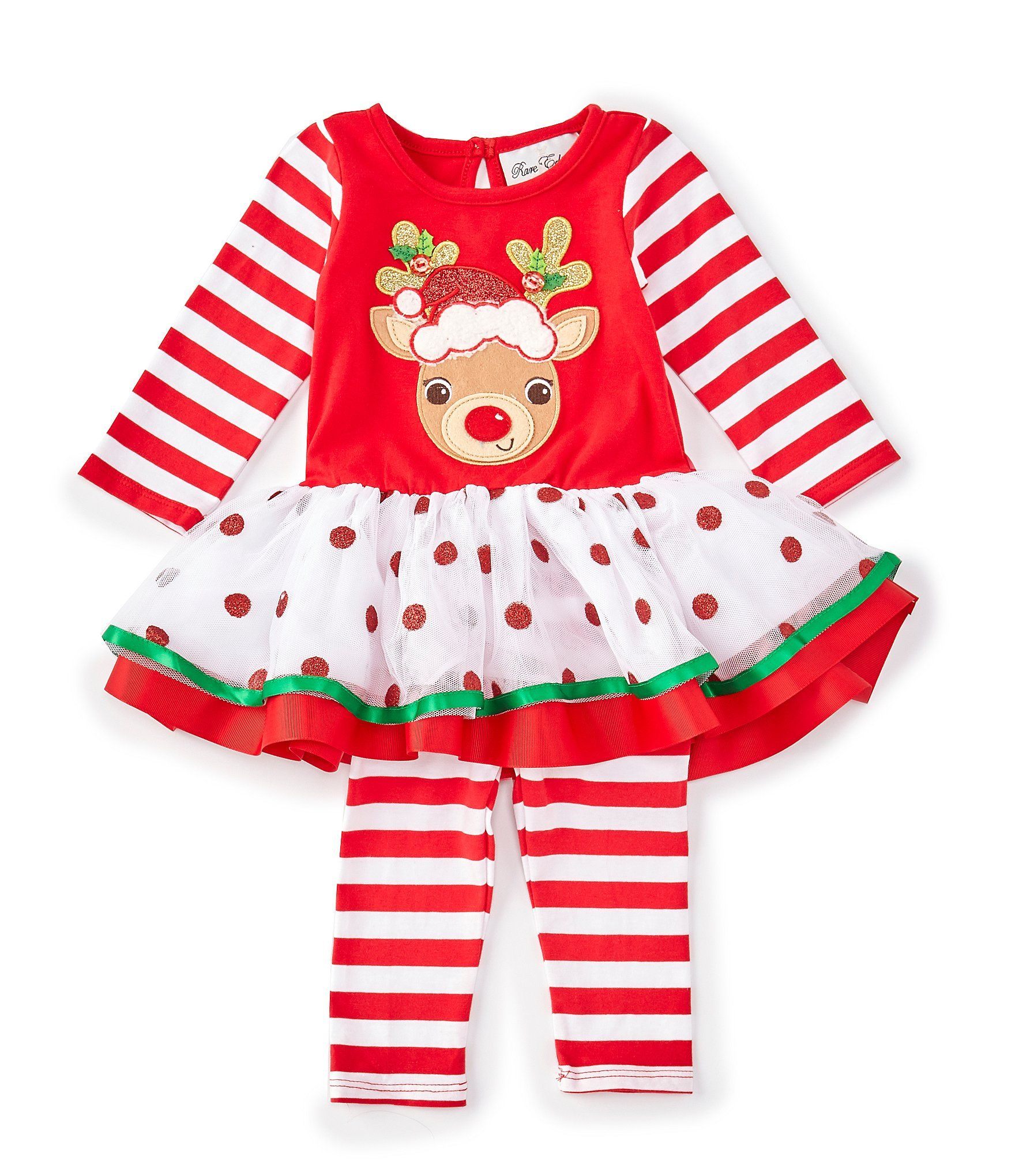 Rare Editions Baby Girls Newborn-24 Months Christmas Reindeer Dress  Striped Leggings Set - Red 24 Months #stripedleggings