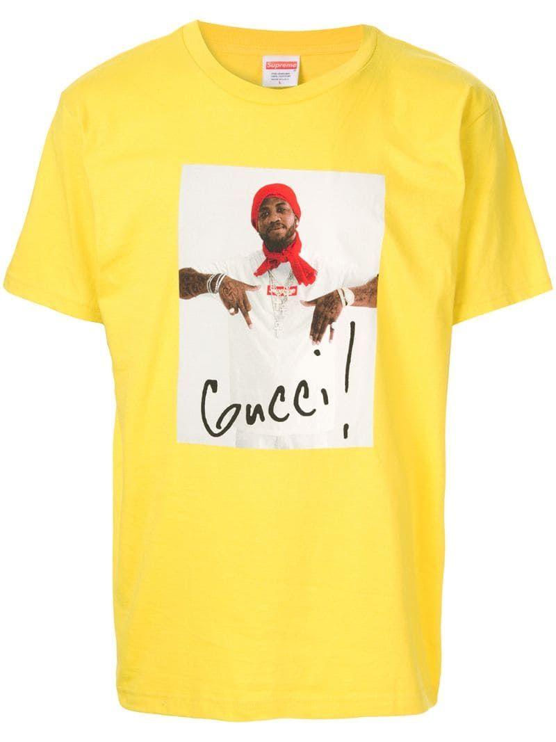 Supreme Gucci Mane T Shirt In Yellow Modesens In 2021 Gucci Mane T Shirt Supreme Clothing Gucci Shirts Men Gucci mane supreme wallpaper