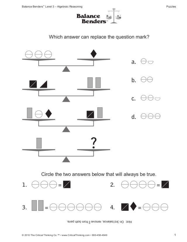 Algebraic Reasoning Balance Benders 5th 7th Grade Worksheet Handwriting Worksheets For Kids Letter Worksheets For Preschool Printable Alphabet Worksheets