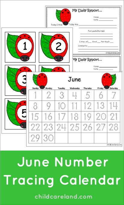 June Calendar For Kindergarten : June number tracing calendar and numbers summer theme