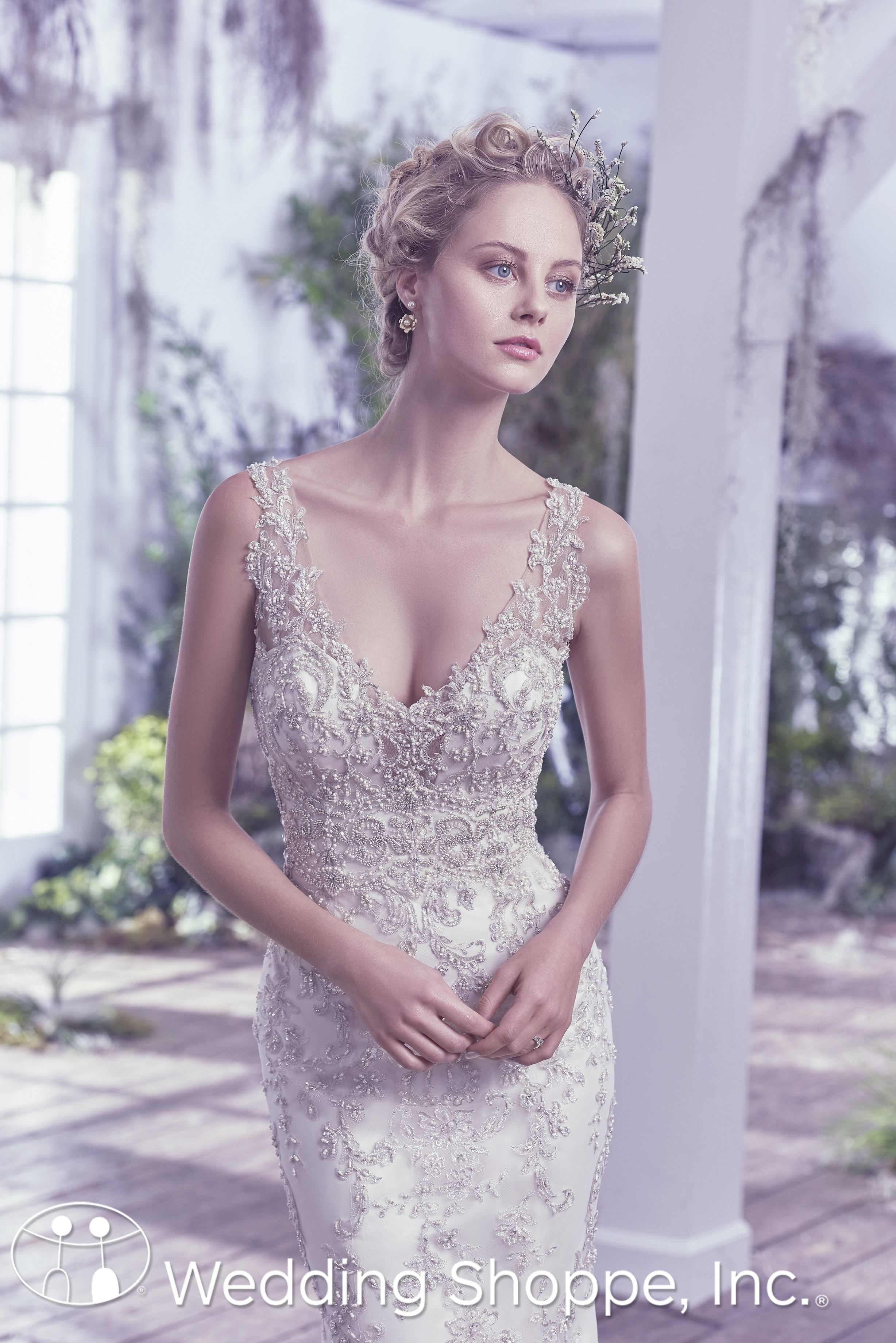 Maggie Sottero Bridal Gown Greer / 6MG799, $1839, sheath, crystals ...