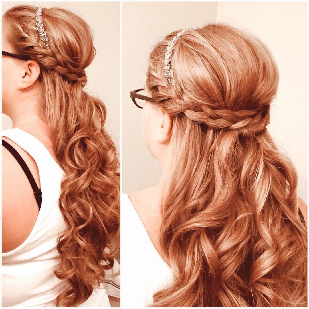 Half Up Half Down Curled Braided Updo Wedding Hair Redhair Weddinghairstyles Hair Styles Red Hair Hair