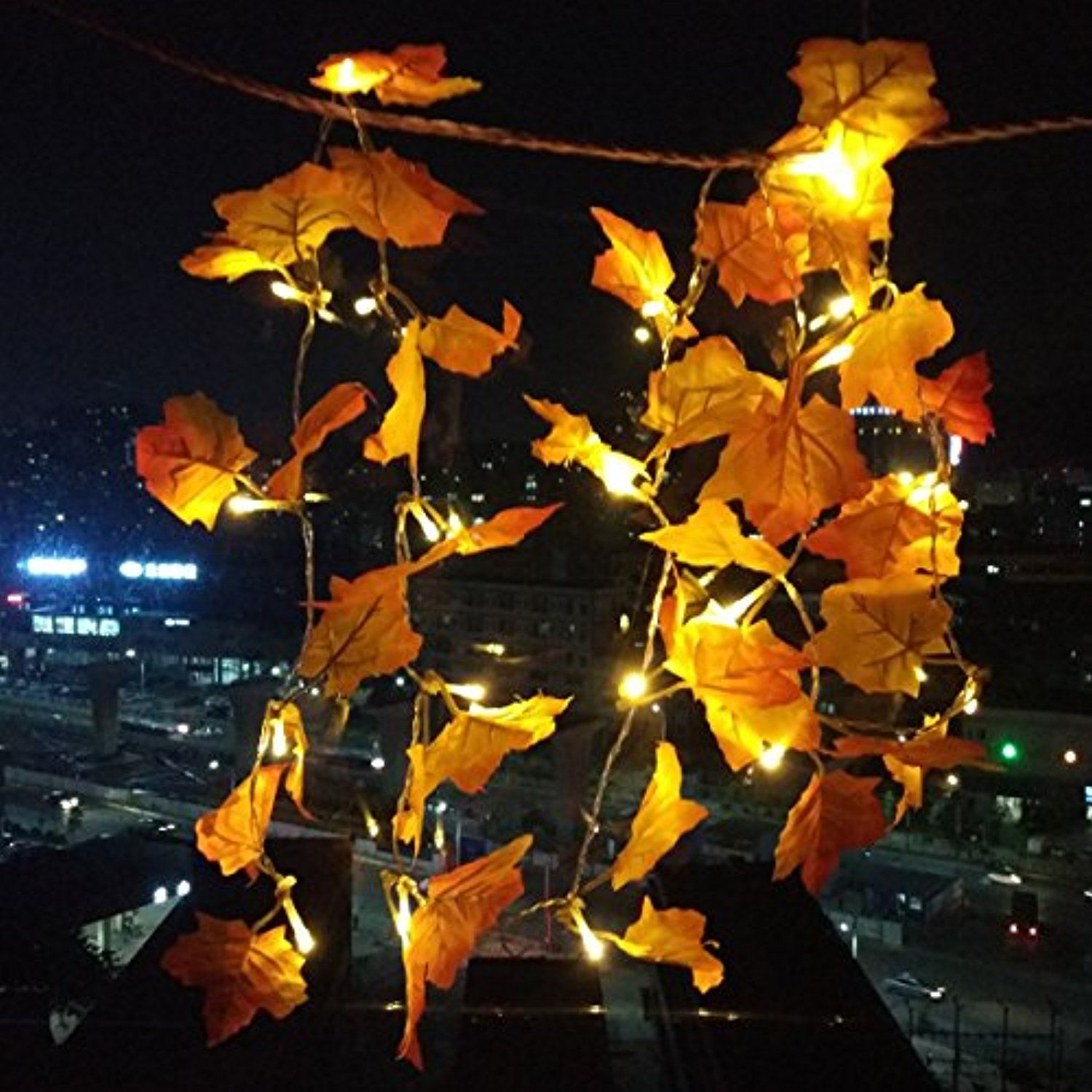 Maple Leaves Led Garland Lighted For Thanksgiving Christmas Festival Decorations Fall String Lights 8 2 Feet With 20 Warm White Bulbs See