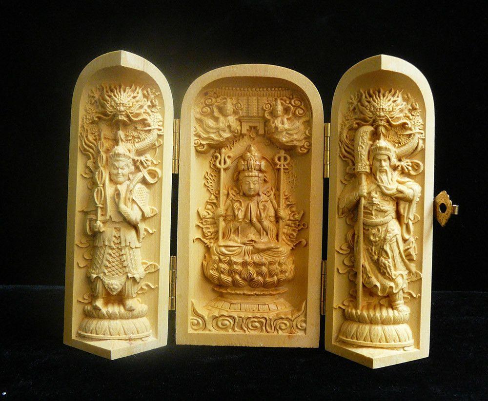 Chinese Foldable Wood Carved Buddha Display Figure