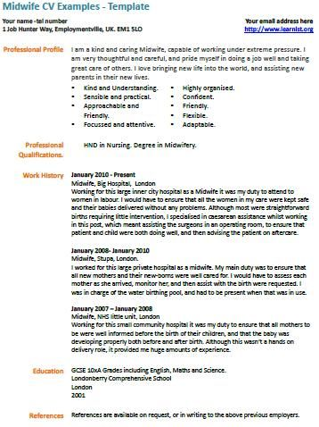 Midwife CV Example And Template It Is All About ME