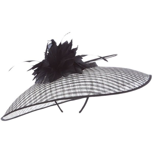 9ec7edae5484 Linea Jay Large Brim Hat ($130) ❤ liked on Polyvore featuring accessories,  hats, monochrome, brimmed hat, hair fascinators and fascinator hats