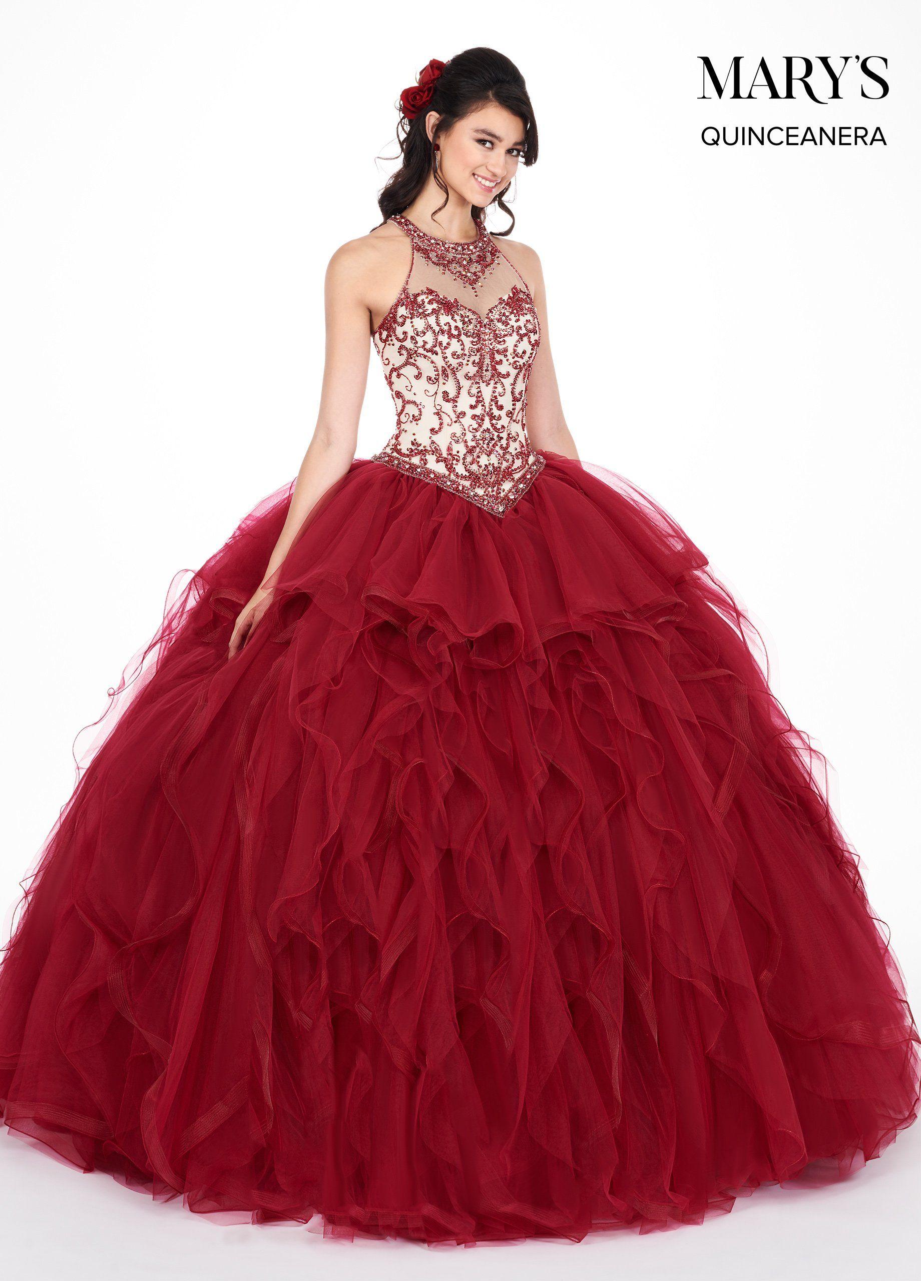 c790e6b7e Ruffled Illusion Halter Quinceanera Dress by Mary s Bridal MQ1042 in ...