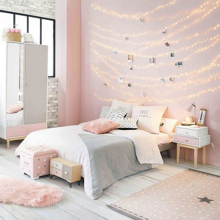 25 Beauty Room Decoration Ideas With Fairy Lights In 2020 Light