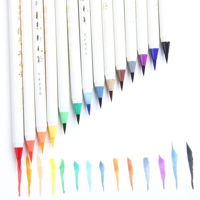 1 개 X 백금 코믹 쓰기 브러쉬 만화 펜 색상 부드러운 브러쉬 펜 문구 canetas 포함 escolar 서예 잉크 브러시