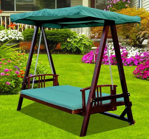 Swing Chair Garden Uk Modern Red Leather Accent 3 Seater Wooden Seat Hammock Bench Furniture Ebay