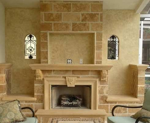 corner fireplaces with stone and recessed tv above Fireplaces