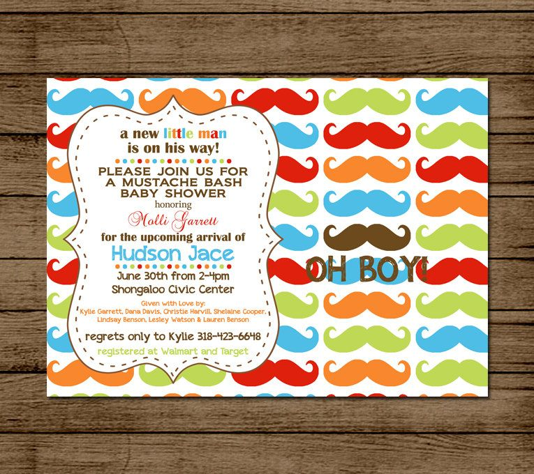Mustache bash customized baby shower invitation birthday party mustache bash customized baby shower invitation birthday party colorful custom mustache party filmwisefo