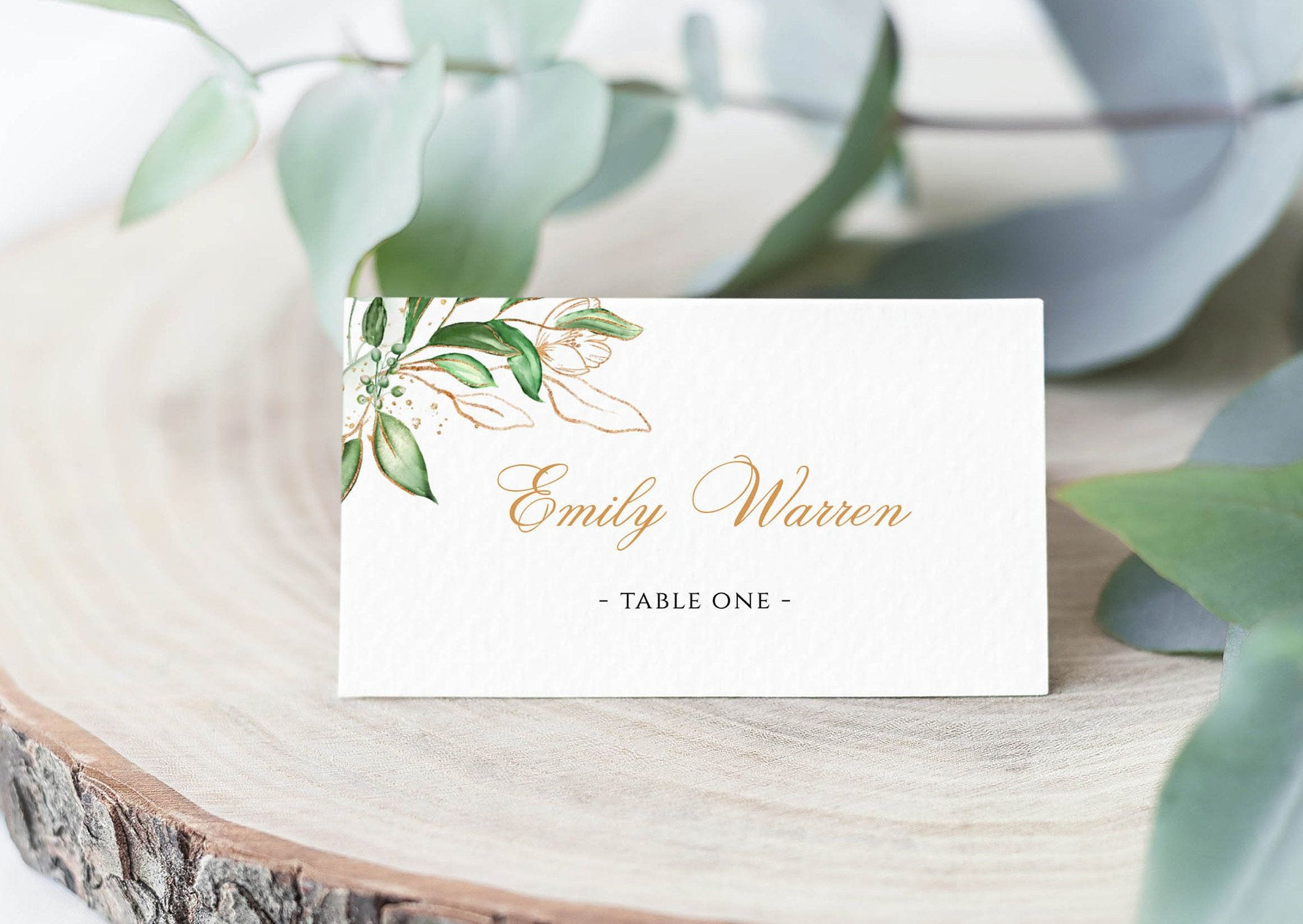Greenery Wedding Place Card Flat And Tent Place Card Template Table Seating Card Foliage Green Leaves Wedding Place Cards Place Card Template Seating Cards