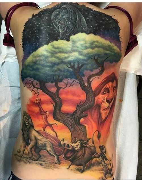 Increible Tatuaje De Espalda Leon Para Hombres Y Mujeres