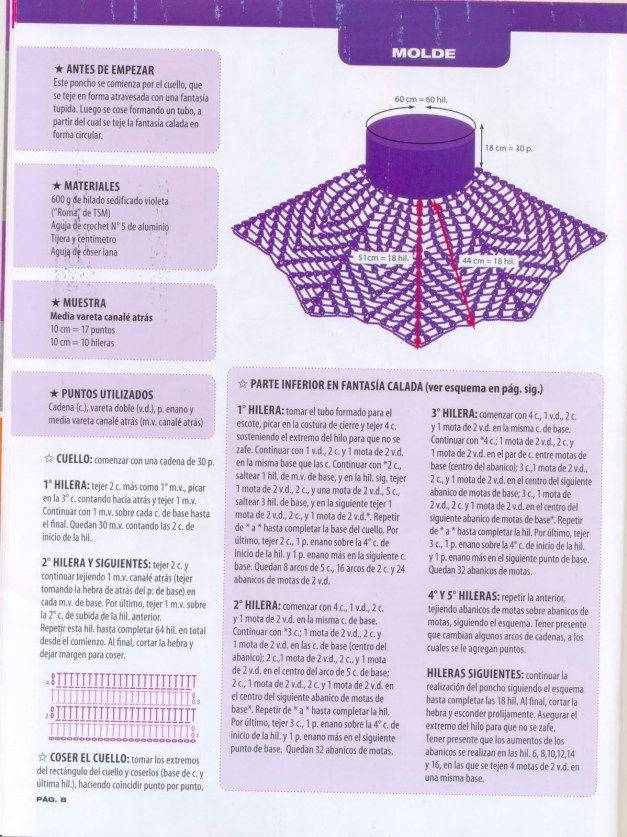 7bec905c350b Pin de Maria Virginia en tejidos | Crochet poncho, Crochet Shawl y Crochet  clothes