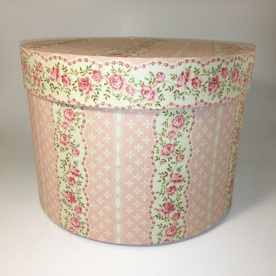 Round Decorative Boxes Awesome Large Hat Box In Pink Cream Ready To Ship Round Box French Inspiration Design