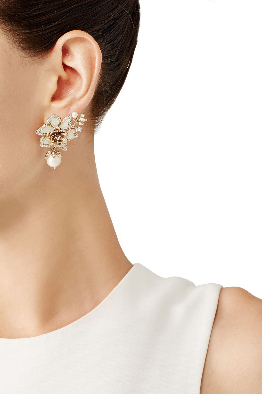 Eternal Garden Flower Drop Earrings by Marchesa Jewelry Rent the