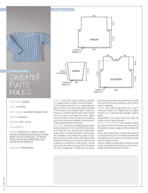 Patrón #1108: Suéter de Bebe en Dos Agujas ~ CTejidas [Crochet y Dos ...