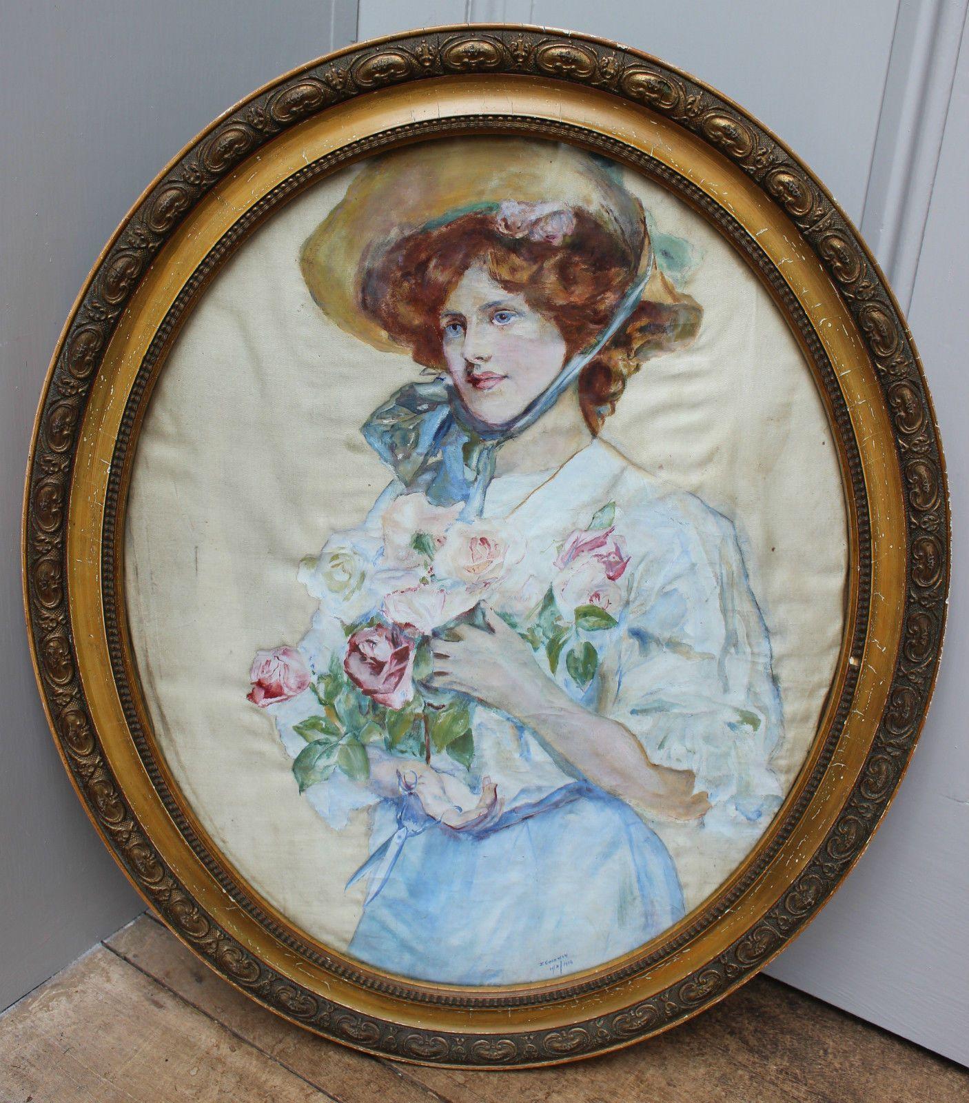 Watercolour Portrait Beautiful Young Lady by J Goodwin 1914 | eBay