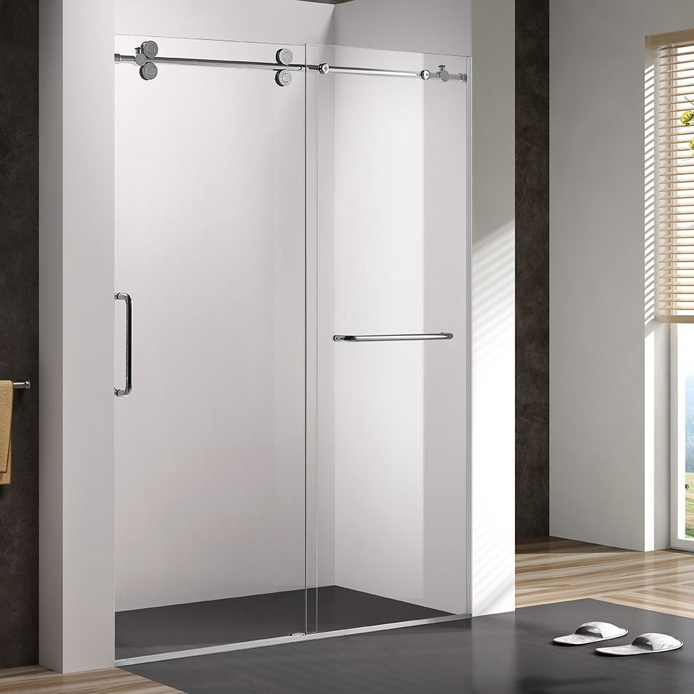 60 Sliding Shower Door With Wheels For Alcove Installation Shower Doors Sliding Shower Door Shower Sliding Glass Door