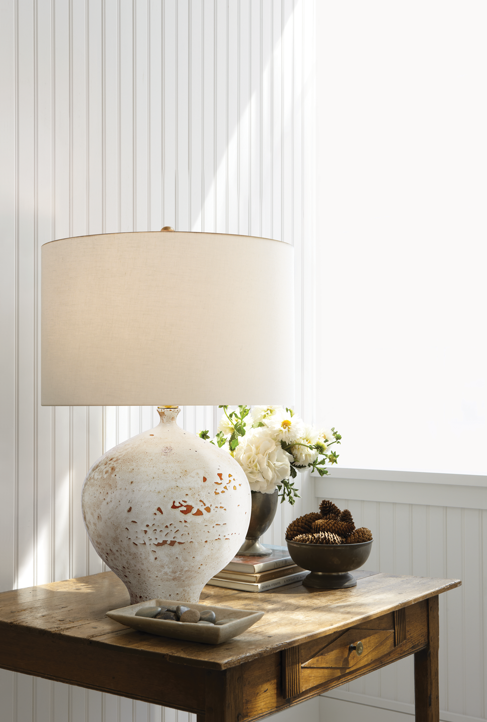 Gaios Table Lamp in Pharaoh White with Linen Shade Item # ARN ...