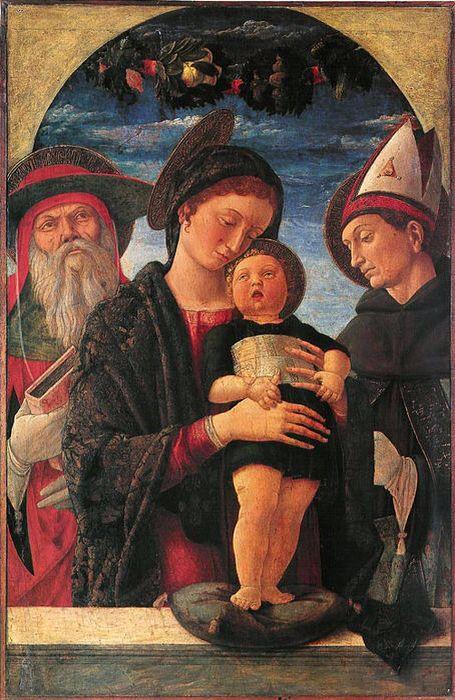 Madonna con bambino e santi Girolamo e Ludovico, Andrea Mantegna, 1455 (periodo di formazione), tempera su tavola, Parigi (musee jacquart-andree)