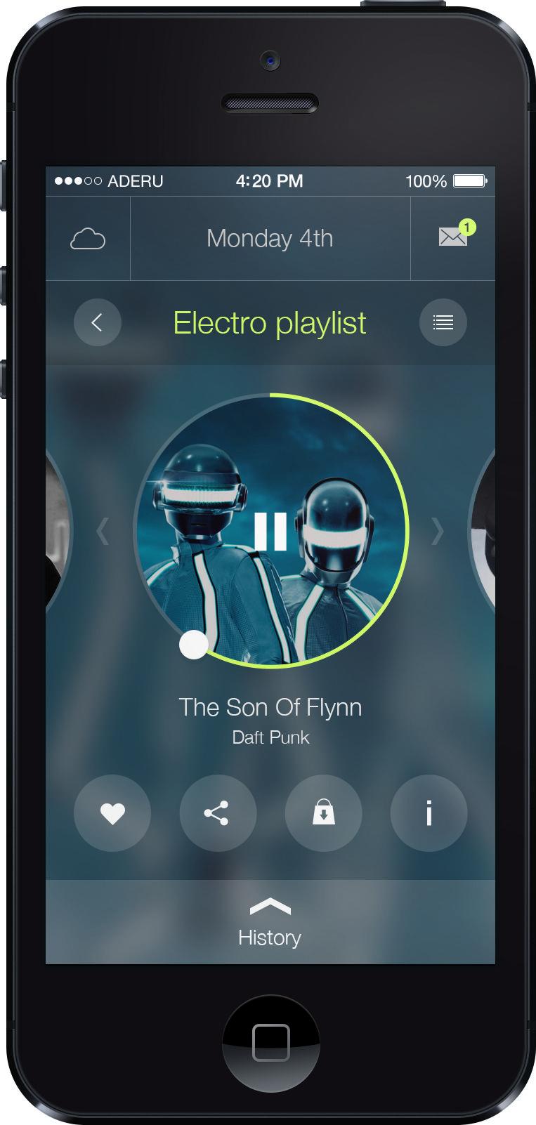 Ios 7 app ui music player psd http www dailyfreepsd