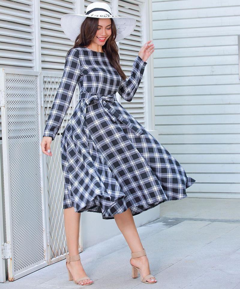 8dc0dd6922 Plaid Cotton Dress Long Sleeve – ○FREE SHIPPING  amp  RETURNS○ Minicia  Vistosa Shopping