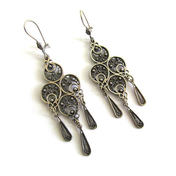 925 Sterling Silver Filigree Ethnic Chandelier Earrings - ID92 ...