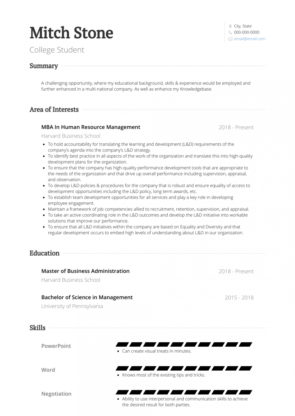Resume Objectives For Students In College
