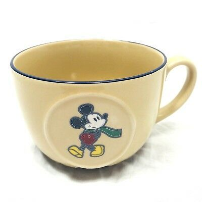 Disney Mickey Mouse Coffee Mug Large Mouth Decorative Collectible Tan Vintage | eBay