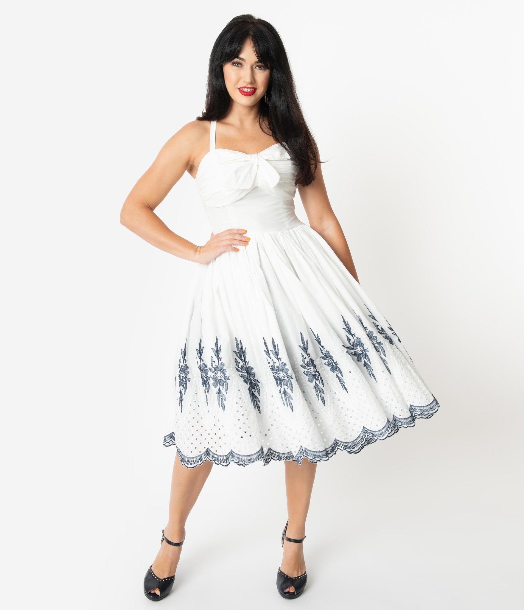 Unique Vintage 1950s White Navy Embroidery Golightly Swing Dress Swing Dress Dresses Unique Dresses [ 2048 x 1759 Pixel ]